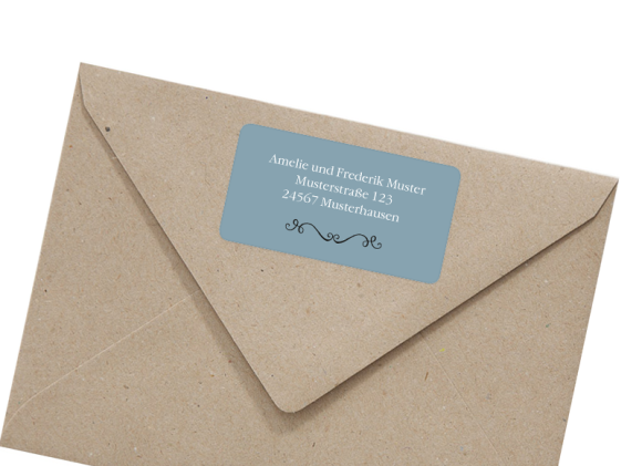 Adressetiketten , Motiv: Rotterdam, mit Briefhülle, Farbvariante: blau