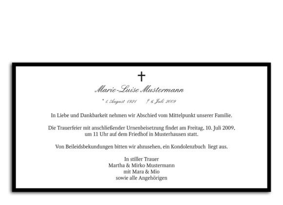 Rückseite, Trauerkarte Motiv Taube, Farbversion: schwarz