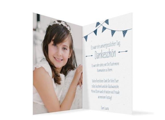 Danksagung zur Kommunion (Klappkarte im Format A6), Motiv: Amsterdam, Innenansicht, Farbvariante: Dunkelblau