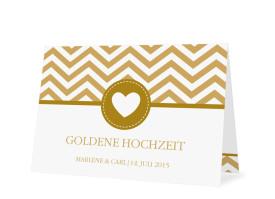Goldene Hochzeit Danksagung Hamptons Heart (Öffnung unten) Beige