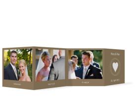 Foto-Leporello zur Hochzeit Pur (Gastgeschenk) Beige/Weiß