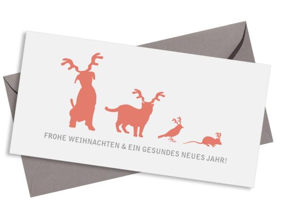 Firmen-Weihnachtskarte Haustiere (Postkarte) mit Umschlag, Farbversion: apricot