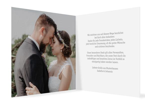 Hochzeitsdanksagungen (Klappkarte quadratisch - 300 x 150 mm), Motiv: Gent Pure, Innenansicht, Farbvariante: grau