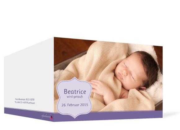 Taufeinladung Beatrice/Benjamin, Außenansicht der Farbversion: flieder