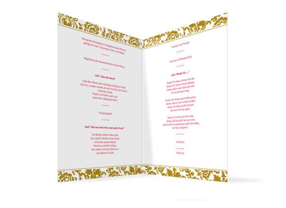 Innenansicht, Klappkarte zur Hochzeit (Kirchenheft), Motiv Barcelona, Farbversion: beige