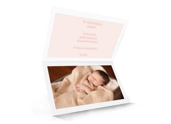 Babykarte (Klappkarte A6, quer, Öffnung unten), Motiv: Jette/Janik FRESH, Innenansicht, Farbversion: apricot