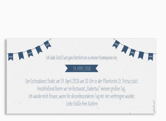 Kommunionseinladung, Motiv: Wimpelkette, Rückseite, Farbvariante: Dunkelblau