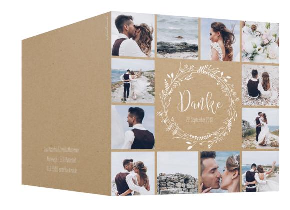 Hochzeitsdanksagungen (quadratisch, 13 Fotos, Kraftpapier), Motiv: HD Blumenkranz natural, Aussenansicht, Farbvariante: weiss