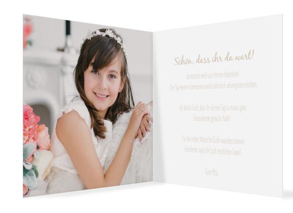 Kommunionsdanksagungen (300 x 150 mm), Motiv: Segen, Innenansicht, Farbvariante: beige
