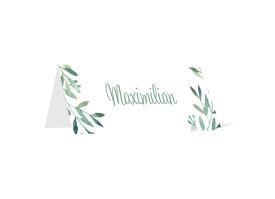 Tischkarten zur Hochzeit Blätterkranz Grün