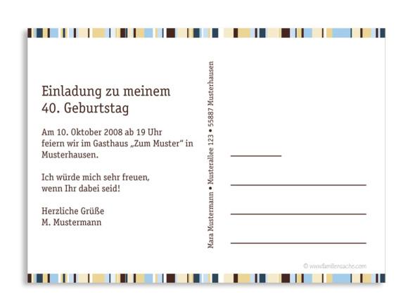 Rückseite, Einladung zum Geburtstag, Motiv Stripes, Farbversion: braun/blau