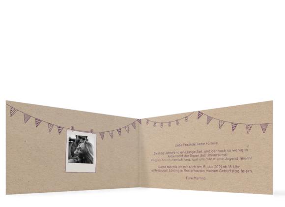 Einladungskarten Geburtstag (Klappkarte DL quer - 3 Fotos), Motiv: Lebensweg, Innenansicht, Farbvariante: aubergine