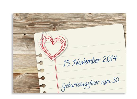 Einladungen zum Geburtstag Notizzettel (Postkarte ohne Foto)