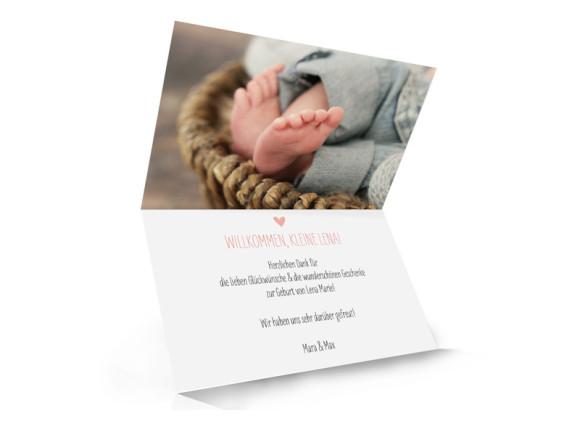 Danksagung zur Geburt Lena/Lars (Klappkarte, A6), Innenansicht, Farbvariante: apricot