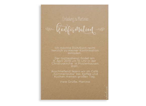 Einladung zur Konfirmation (Postkarte A6), Motiv: Blumenkranz Natural, Rückseite, Farbvariante: weiss