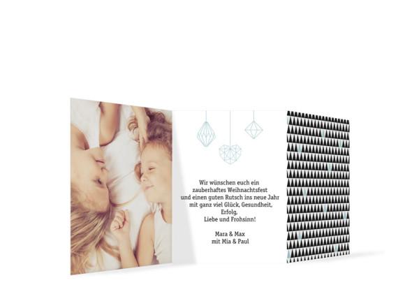 Weihnachtskarte Origami, Rückseite: eisblau