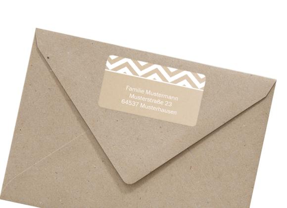 Adressetikett (rechteckig), Motiv: Zickzack, mit Briefhülle, Farbvariante: weiss