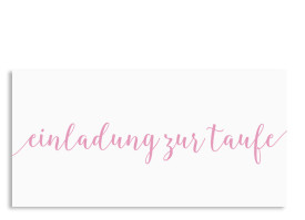 Taufkarte Calligraphy Pink
