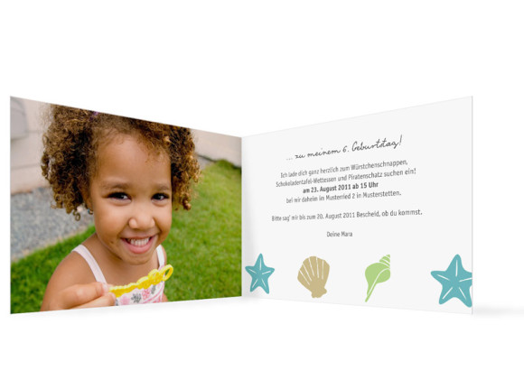 Innenansicht, Geburtstagseinladung, Motiv Muscheln, Farbversion: beige