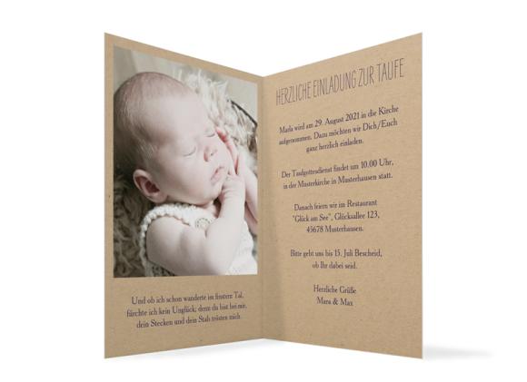 Einladung Taufe (Klappkarte mit Foto), Motiv: Nature, Innenansicht, Farbvariante: aubergine