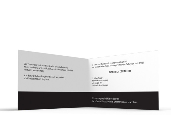 Innenansicht, Trauerkarte Motiv Löwenzahn, Farbversion: schwarz