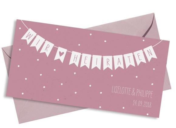 Einladung zur Hochzeit Wimpelkette (Postkarte DL) in altrosa mit Umschlag