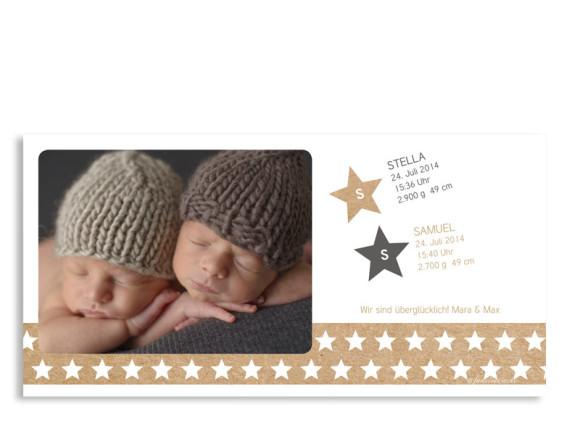 Zwillingskarten Stella/Samuel, Innenansicht der Farbversion: grau
