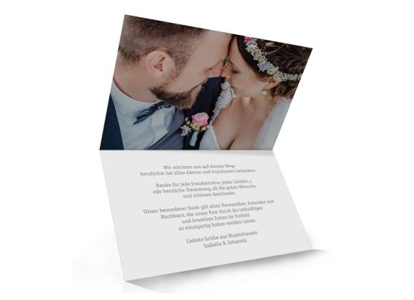 Danksagung Hochzeit (Klappkarte A6 - unten offen), Motiv: Gent Pure, Innenansicht, Farbvariante: grau