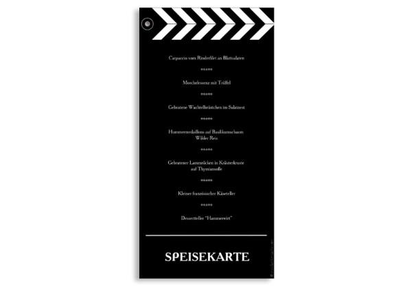 Rückseite, Menükarte zur Hochzeit (DIN Lang-Karte, zweiseitig), Motiv Hollywood, Farbversion: schwarz