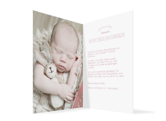 Babykarte (Klappkarte A6 mit Foto), Motiv: Carmen/Campino, Innenansicht, Farbvariante: altrosa