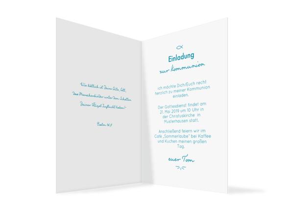 Kommunionskarte (Klappkarte C6 hoch mit Foto), Motiv: Blickfang, Innenansicht, Farbvariante: hellblau
