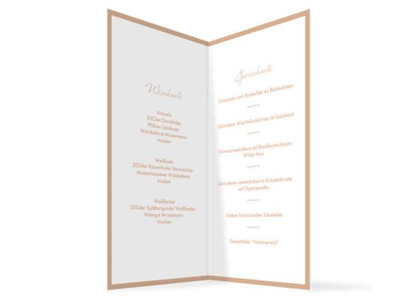 Innenansicht, Menükarte zur Hochzeit (Klappkarte), Motiv Verona, Farbversion: beige