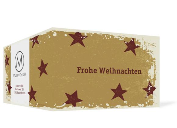 Außenansicht, Firmen-Weihnachtskarte Sterne, Farbvariante: bordeaux