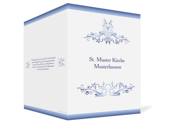 Außenansicht, Klappkarte zur Hochzeit (Kirchenheft), Motiv Mailand, Farbversion: blau
