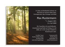 Trauerkarten Wald (einseitige A6-Postkarte)
