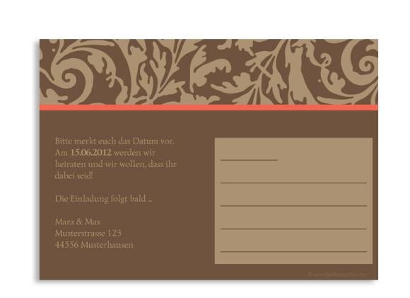 Rückseite, Einladungs-Postkarte zur Hochzeit, Motiv Rokko, Farbversion: beige/braun