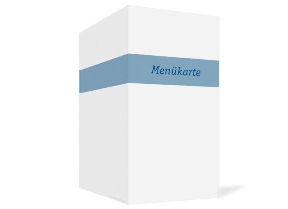 Außenansicht, Menükarte zur Hochzeit (Klappkarte), Motiv Klassik, Farbversion: blau