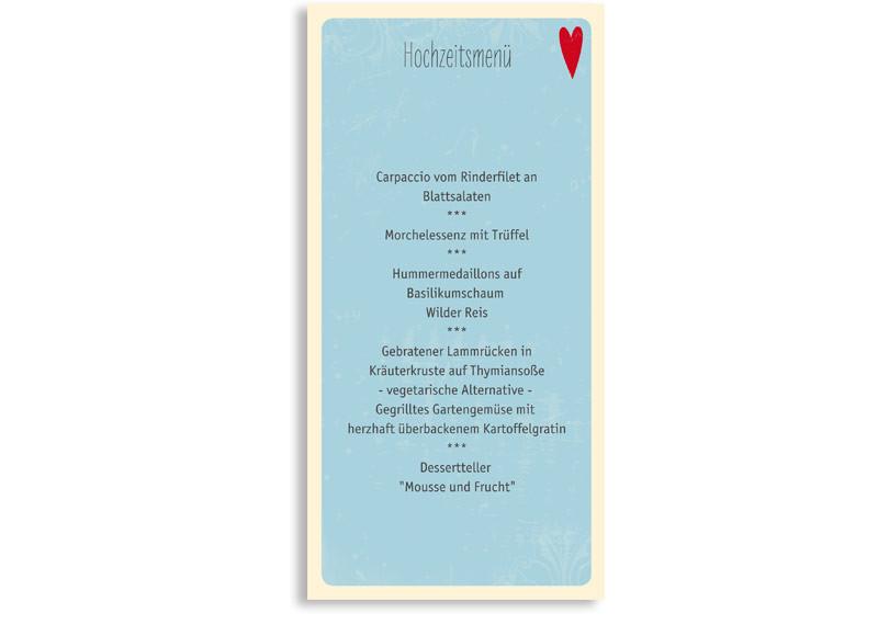 Menükarten Hochzeit Vintage Heart, Rückseite der Farbversion: blau