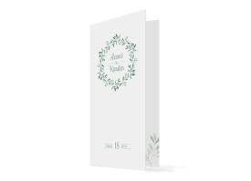 Hochzeitsmenükarten Blätterkranz Grün