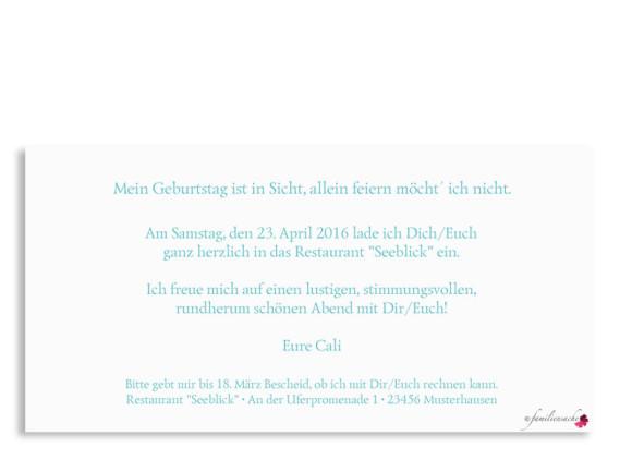 Einladung, Motiv Calligraphy, Rückseite, Farbversion: Türkis