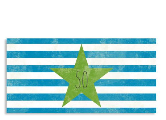 Einladung Vintage Star zum 50. (Postkarte)
