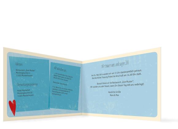 Hochzeitseinladung Vintage Heart, Innenansicht, Farbversion: blau