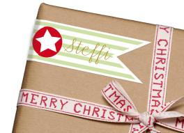 Geschenkaufkleber Weihnachtsstern (Fähnchen)