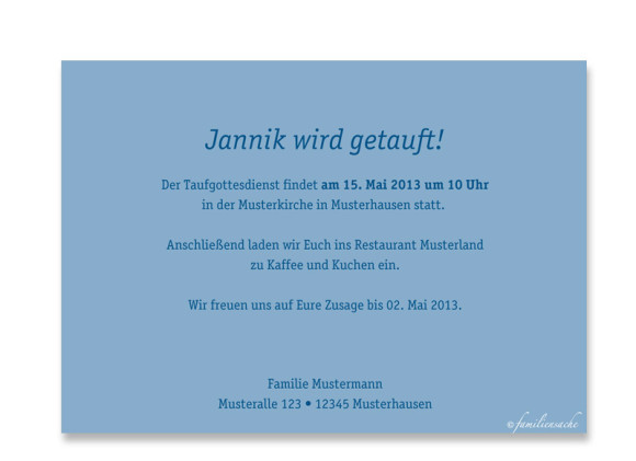 Rückseite, Postkarte zur Taufe, Motiv Jette/Jannik, Farbversion: blau