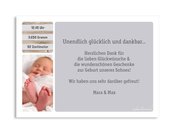 Geburtskarte (Postkarte), Motiv: Lucia/Luca, Rückseite, Farbversion: grau