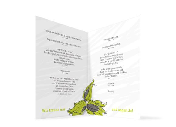 Kirchenheft zur Hochzeit Drei Haselnüsse, Innenansicht der Farbversion: grün