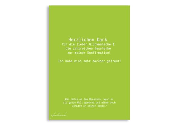 Konfirmation Dankeskarten Felia/Frank, Rückseite der Farbversion: apfel