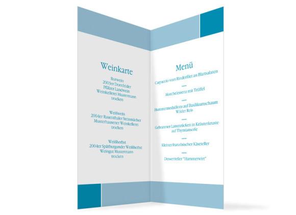 Innenansicht, Menükarte zur Hochzeit (Klappkarte), Motiv Helsinki, Farbversion: blau