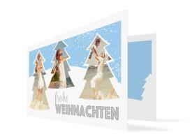 Weihnachtskarte Stille Nacht Hellblau-Grau