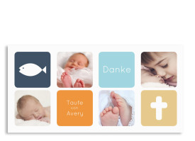 Taufdanksagungen Ava/Avery (Postkarte) Dunkelblau